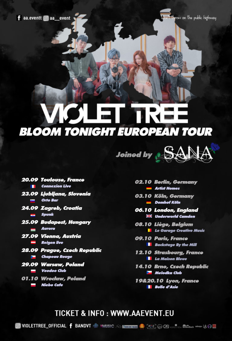 VIOLET TREE—BLOOM TONIGHT European Tour 2019 by AA Events